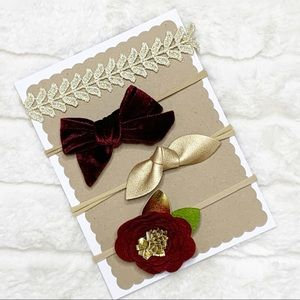Other - Handmade Infant Holiday Headband Set - Gold & Red